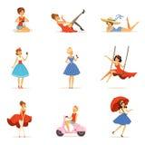 Schöne Retro- Mädchencharaktere stellten, die jungen Frauen ein, die Kleider in bunten Illustrationen Vektor des Retrostils trage Stockbilder