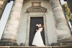 Schöne romantische Paare von Jungvermählten Braut und Bräutigam, die nahe altem Schloss umarmen stockbild