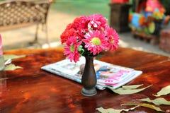 Sch?ne rosa Blumen gesetzt auf einen Holztisch mit Zeitschriften f?r entspannende Tagesleseb?cher stockbild