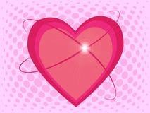 Schöne rosa Herzen mit Glanz auf Halbtoneffekthintergrund Stockfoto