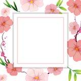 Schöne rosa Hibiscus-Blumen-Schablone stock abbildung