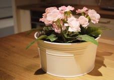 Schöne rosa künstliche Rosen-Blumen in einem Topf stockbilder