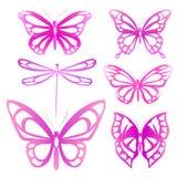 Schöne rosa Schmetterlinge, lokalisiert auf einem Weiß Stockfotos