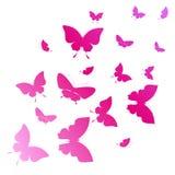 Schöne rosa Schmetterlinge, lokalisiert auf einem Weiß Lizenzfreie Stockbilder