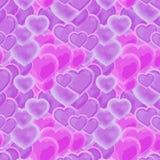 Schöne rosa und purpurrote Herzen in einem wiederholenden Muster stock abbildung