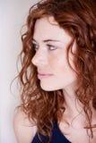 Schöne rote Hauptfrau mit dem Frecklelächeln stockbild