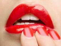 Schöne rote Lippen Lizenzfreie Stockbilder