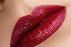 Schöne rote Lippen des Klassikers c Stockbilder