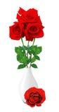 Schöne rote Rosen im weißen Vase lokalisiert auf Weiß Stockfotografie