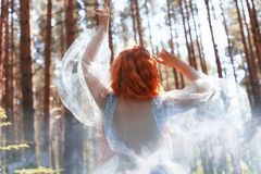 Schöne Rothaarigefrauen-Waldnymphe in einem blauen transparenten hellen Kleid im Wald, das in Tanz spinnt Rote Haarmädchen Kunstm stockfotografie