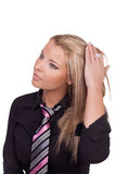 Schöne ruhige blonde Frau Stockfoto