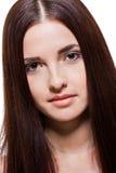 Schöne ruhige Frau mit einem leichten Ausdruck lizenzfreies stockfoto