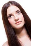 Schöne ruhige Frau mit einem leichten Ausdruck stockfotografie