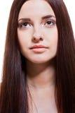 Schöne ruhige Frau mit einem leichten Ausdruck Lizenzfreies Stockbild