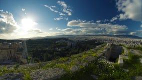 Schöne Ruinen über Athen stock video