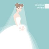 Schöne schüchterne Braut Stockbild