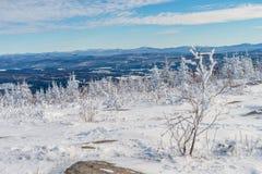 Schöne schneebedeckte Landschaft in Quebec, Kanada stockfotos
