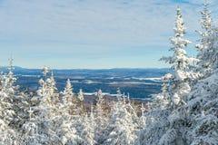 Schöne schneebedeckte Landschaft in Quebec, Kanada lizenzfreie stockbilder
