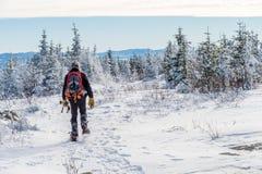 Schöne schneebedeckte Landschaft in Quebec, Kanada lizenzfreies stockbild