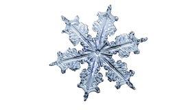 Schöne Schneeflocke auf einem hellen weißen Hintergrundabschluß oben stockfoto