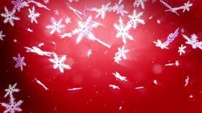 Schöne Schneeflocken 3d fallen nachts auf einem roten Hintergrund Gebrauch als lebhaftes Weihnachts-, des neuen Jahreskarte oder  stock video