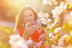 Schöne schwangere Frau in blühendem Garten Lizenzfreie Stockfotografie
