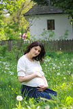 Schöne schwangere Frau, die im Park sich entspannt Stockbild