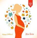 Schöne schwangere Frau im aufwändigen Kleid Glückliche Kindheit Ner getragen Stockfotografie