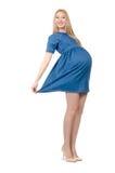 Schöne schwangere Frau im blauen Kleid an lokalisiert lizenzfreie stockbilder