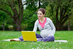 Schöne schwangere Frau mit Laptop stockfotografie
