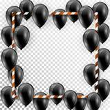 Schöne schwarze Ballone, die nach dem Zufall über weißen Rahmen fliegen Eleganter Vektorhintergrund der Partei mit Raum für Text  vektor abbildung