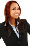 Schöne schwarze Berufsfrau im Anzug lizenzfreies stockbild