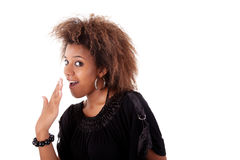 Schöne schwarze junge Frau bewundert lizenzfreie stockfotos