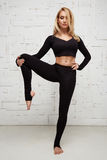 Schöne sexy blonde perfekte athletische dünne Zahl pilates Yoga Lizenzfreie Stockbilder