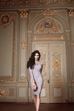 Schöne Frau in der elegantes Kleidermodernen Herbstkollektion Frühling langem Brunette-Haarmake-up bräunte dünne Körperzahl  Stockbild