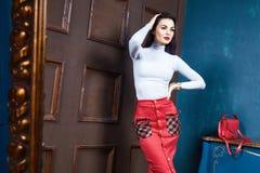 Schöne sexy Mode der zufälligen Art der Brunettefrau Lizenzfreies Stockfoto