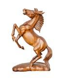 Schöne Skulptur des Pferds gemacht von nur einem Frieden des Holzes Stockfotografie