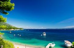Schöne Sommer-adriatisches Seeküstenlinienansicht mit Kiefer yach Stockbilder