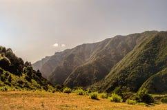 Schöne Sommerlandschaft in den Bergen, in den grünen Wiesen und im dunkelblauen Himmel mit Wolken Großer Kaukasus azerbaijan Gakh Stockfotografie