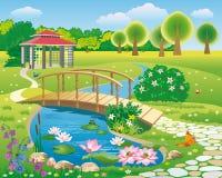 Schöne Sommerlandschaft mit einem See und einer Brücke stock abbildung