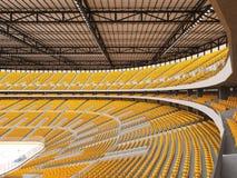 Schöne Sportarena für Eishockey mit gelben Sitzen und Promi-Kästen Stockbild