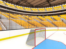 Schöne Sportarena für Eishockey mit gelben Sitzen und Promi-Kästen Stockfotografie
