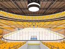 Schöne Sportarena für Eishockey mit gelben Sitzen und Promi-Kästen Lizenzfreies Stockbild