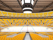 Schöne Sportarena für Eishockey mit gelben Sitzen und Promi-Kästen Stockbilder