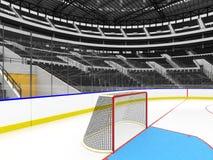 Schöne Sportarena für Eishockey mit schwarzen Sitzen und Promi-Kästen Lizenzfreie Stockfotos
