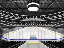 Schöne Sportarena für Eishockey mit schwarzen Sitzen und Promi-Kästen Stockfotografie