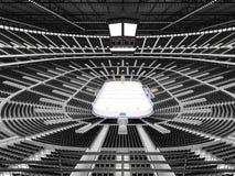 Schöne Sportarena für Eishockey mit schwarzen Sitzen und Promi-Kästen Lizenzfreies Stockbild