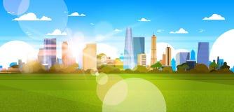 Schöne Stadt-Skyline mit Sonnenlicht über Wolkenkratzer-Gebäude-Stadtbild-Konzept-horizontaler Fahne vektor abbildung