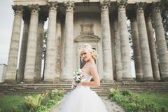 Schöne stilvolle blonde Braut, die nahe altem Schloss aufwirft Stockbilder