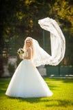 Schöne stilvolle elegante blonde Braut auf dem Hintergrund eines BU Lizenzfreie Stockbilder